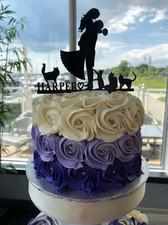 Simple Rosette Wedding Cutting Cake
