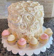 Bridal Shower Cake & Mini Cupcakes