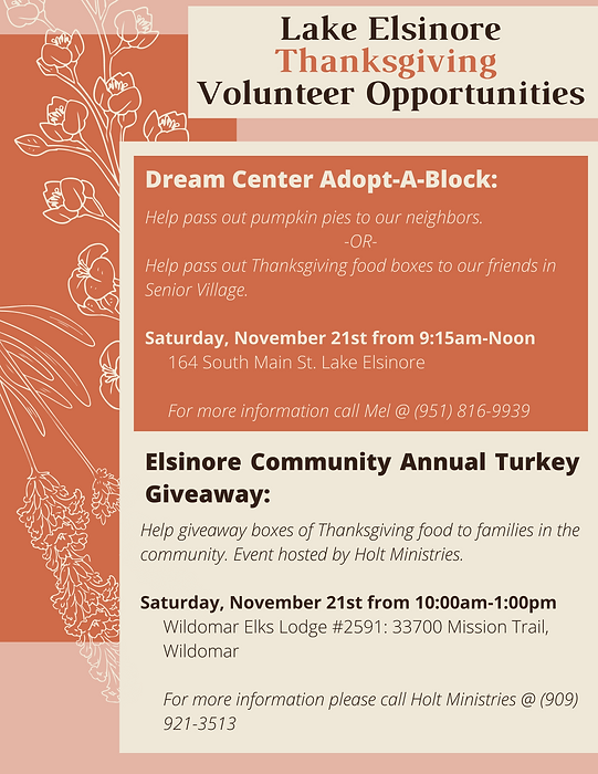 LE Thanksgiving Volunteer Opportunities