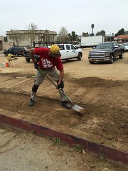 Jared preparing for the brick