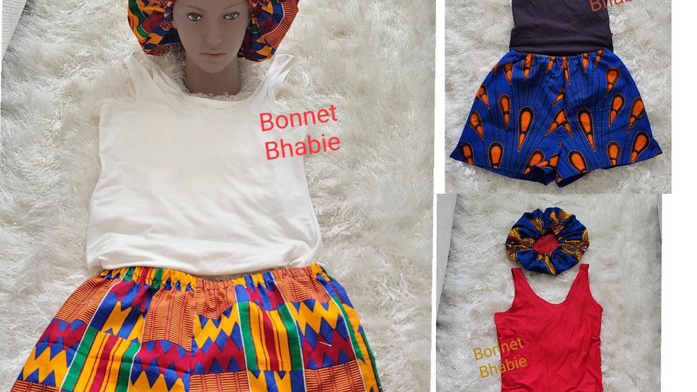 Bonnet Bhabie African Print PJ Shorts with Bonnet Set