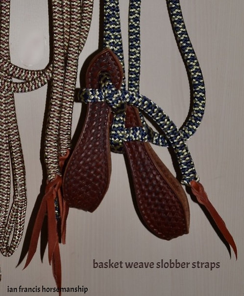 ONE PIECE ROPE REINS WITH BASKET WEAVE SLOBBER STRAPS