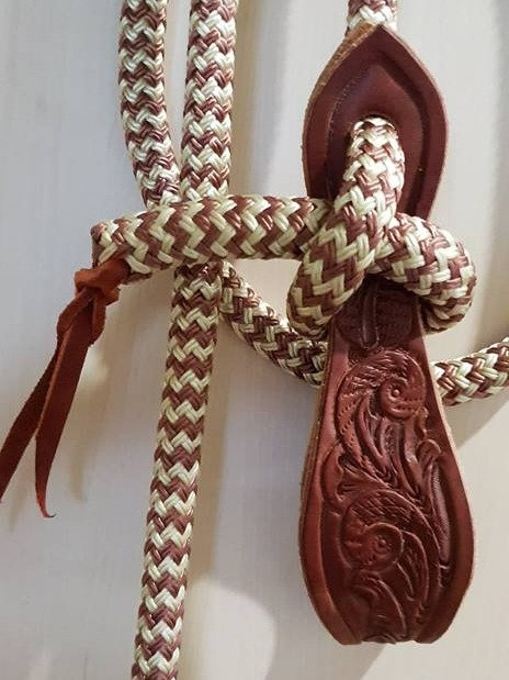 ONE PIECE ROPE REINS WITH CARVED SCROLL SLOBBER STRAPS