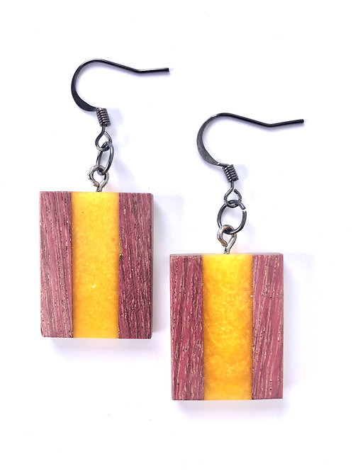 Wood and Resin Earrings #22