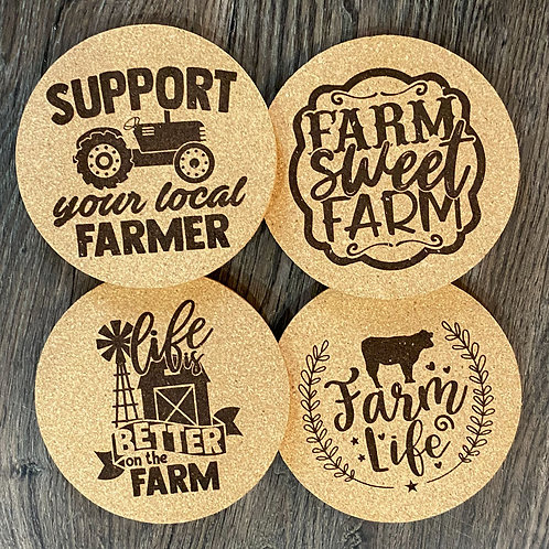 Farm Life Cork Coasters