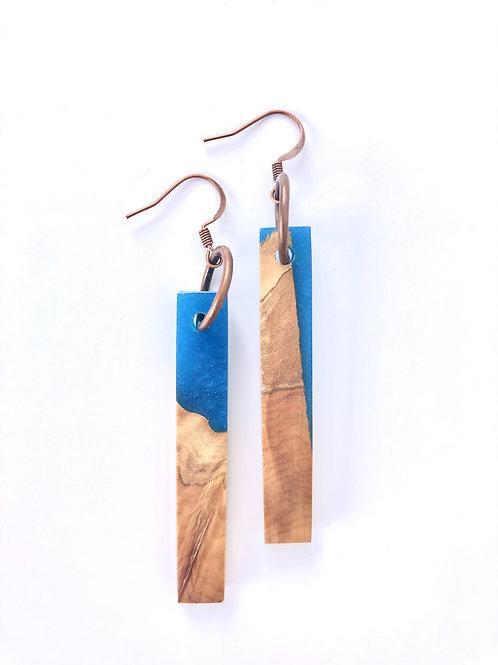 Wood and Resin Earrings #33