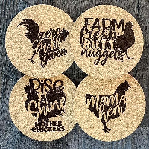 Chicken Cork Coasters