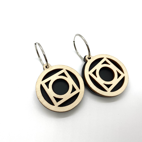 Black  Large Circle Earrings