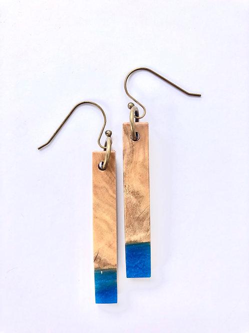 Wood and Resin Earrings #37