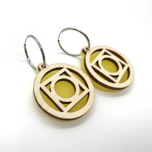 Yellow Large Circle Earrings