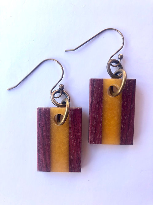 Wood and Resin Earrings #48