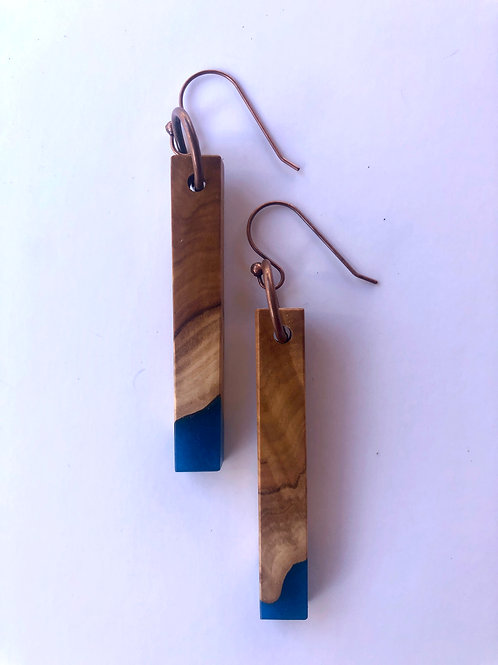 Wood and Resin Earrings #49