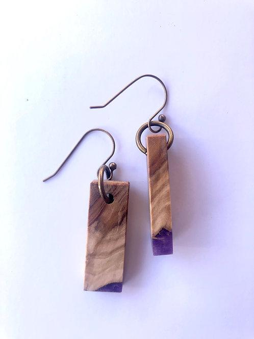 Wood and Resin Earrings #41