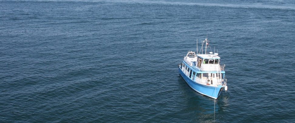 Aerial view of Project Oceanology's Research Vessel the Enviro-Lab in Long Island Sound
