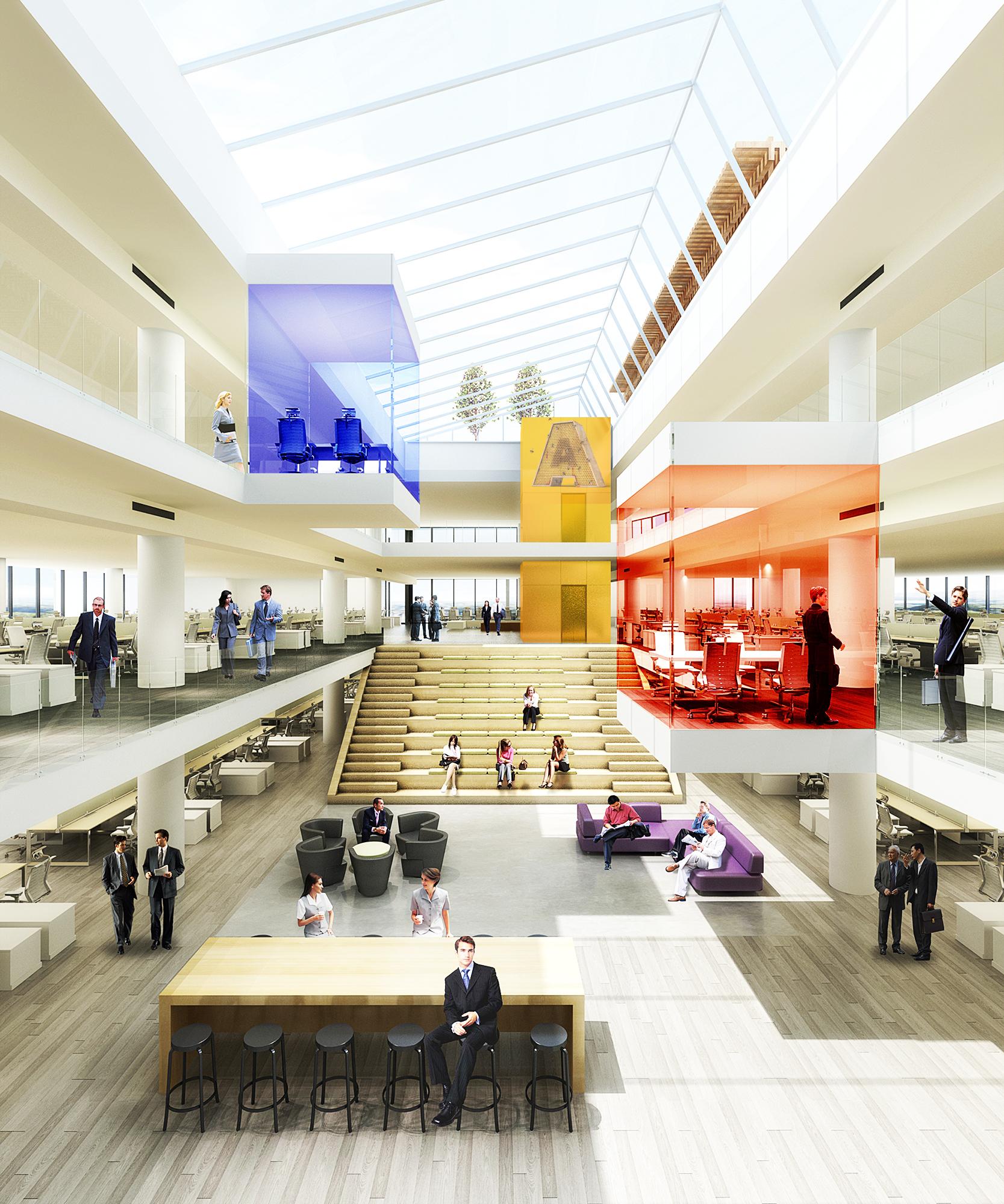 Atrium with floating conf. rooms