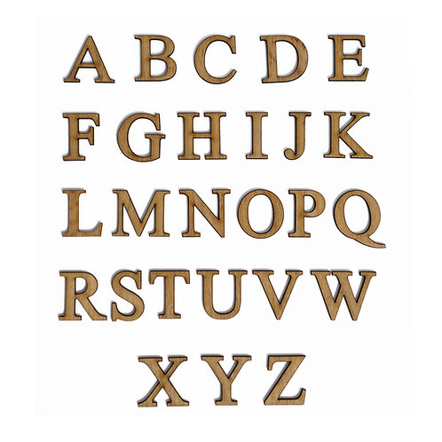 Wooden Unfinished English Alphabet Letters with Adhesive Backing