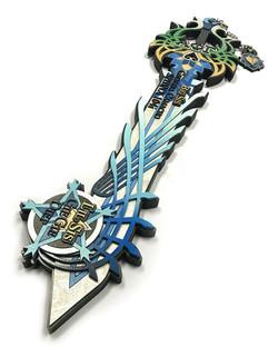 custom greek paddle keyblade, angled