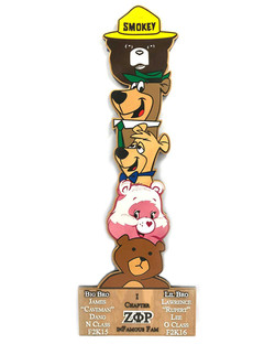 custom greek paddle totem bears