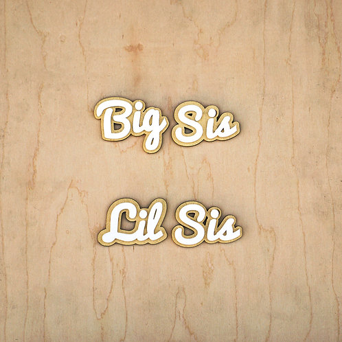 Big Sis Lil Sis Double-Stacked Letters Set with Adhesive Backing, White on Gold