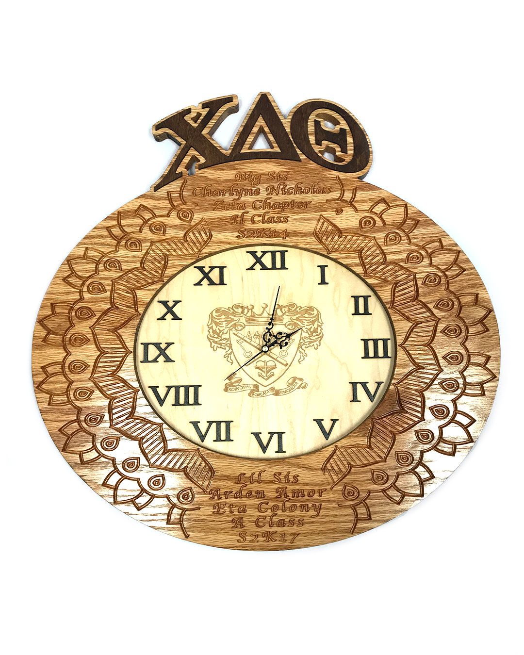 custom greek paddle with clock