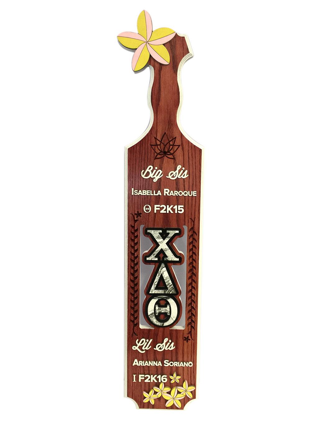 custom greek paddle with plumeria