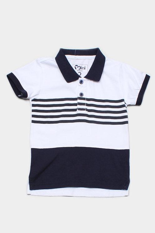 Striped Colour Block Polo T-Shirt NAVY (Boy's T-Shirt)