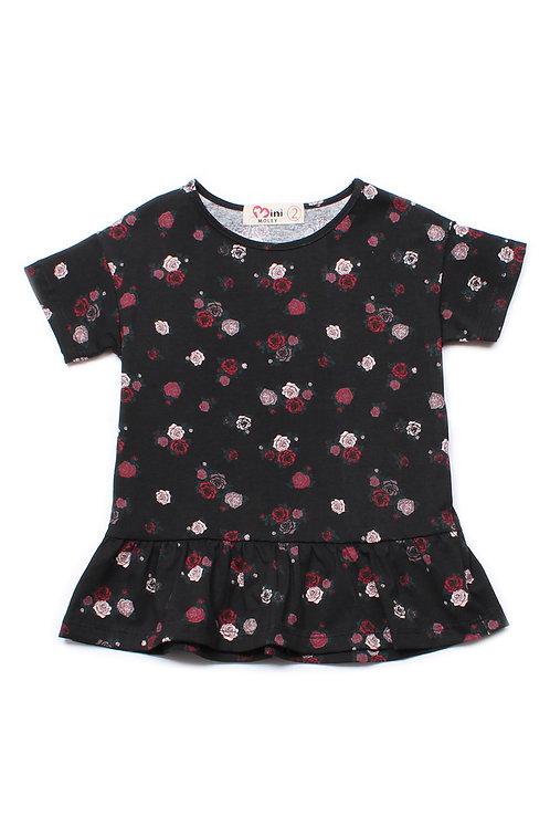 Rose Print Frill T-Shirt BLACK (Girl's Top)