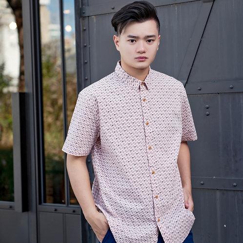 Rose Print Motif Short Sleeve Shirt PINK (Men's Shirt)