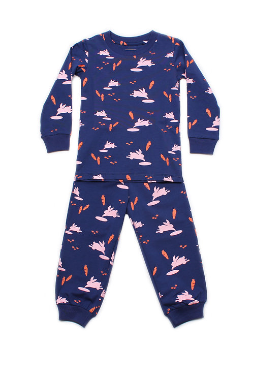 Bunny Print Pyjamas Set NAVY  (Kids' Pyjamas)