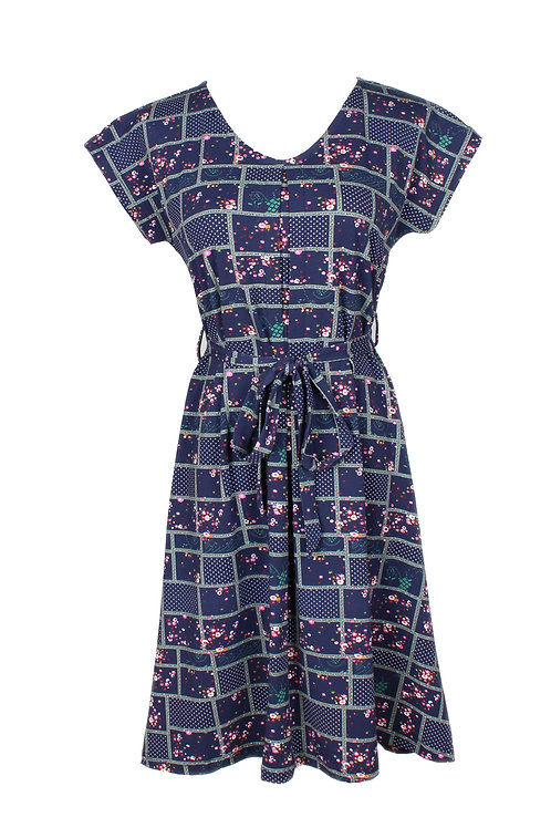 Checkered Floral Design Flare Dress NAVY (Ladies' Dress)