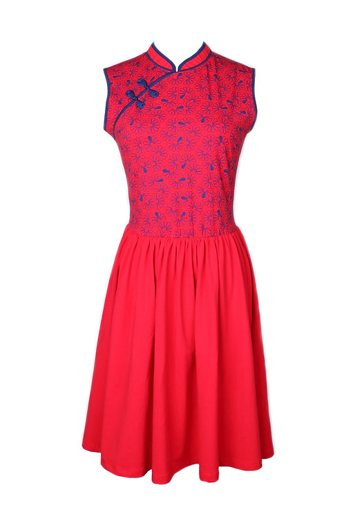 Floral Patterned Print Cheongsam Inspired Dress RED (Ladies' Dress)