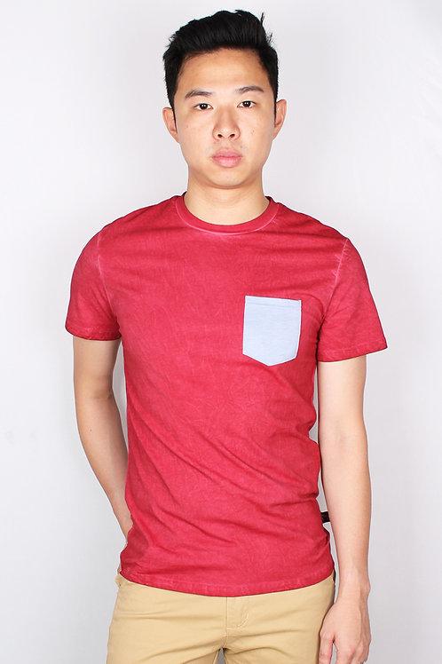 Faded Look Pocket T-Shirt RED (Men's T-Shirt)