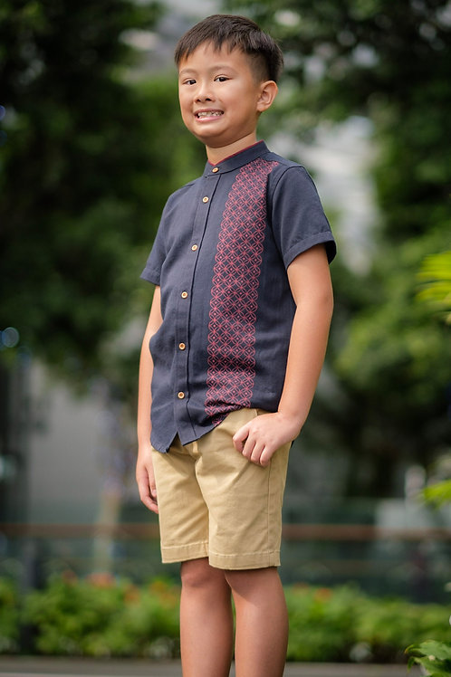 Oriental Rings Print Mandarin Collar Short Sleeve Shirt NAVY (Boy's Shirt)