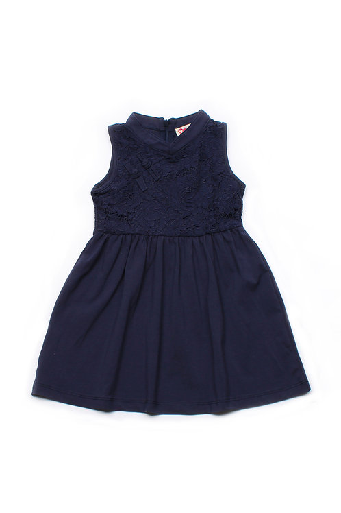 Oriental Cheongsam Inspired Lace Dress NAVY (Girl's Dress)