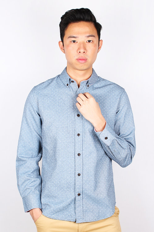 Polka Dot Long Sleeve Shirt NAVY (Men's Shirt)