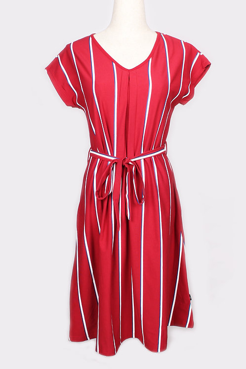 Shadow Stripes Flare Dress RED (Ladies' Dress)