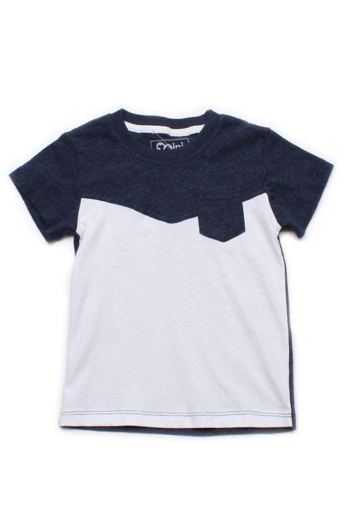 Two-Tone Chevron T-Shirt with Pocket NAVY (Boy's T-Shirt)