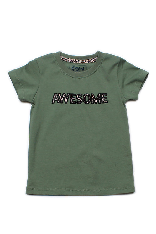 Aztec AWESOME Embroidery T-Shirt GREEN (Boy's T-Shirt)