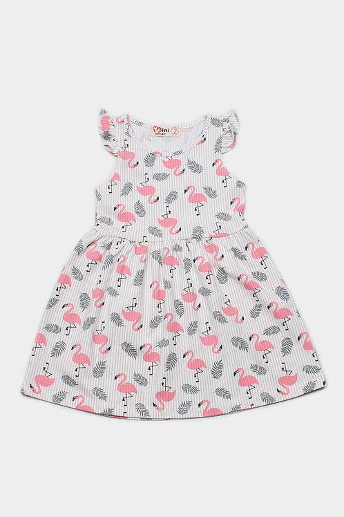 Stripe Flamingo Print Dress WHITE (Girl's Dress)