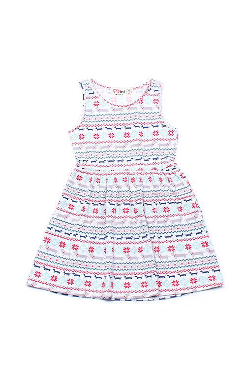 Aztec Daschund Print Dress WHITE (Girl's Dress)