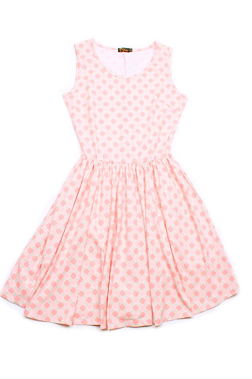 Geometric Print Skater Dress PINK (Ladies' Dress)