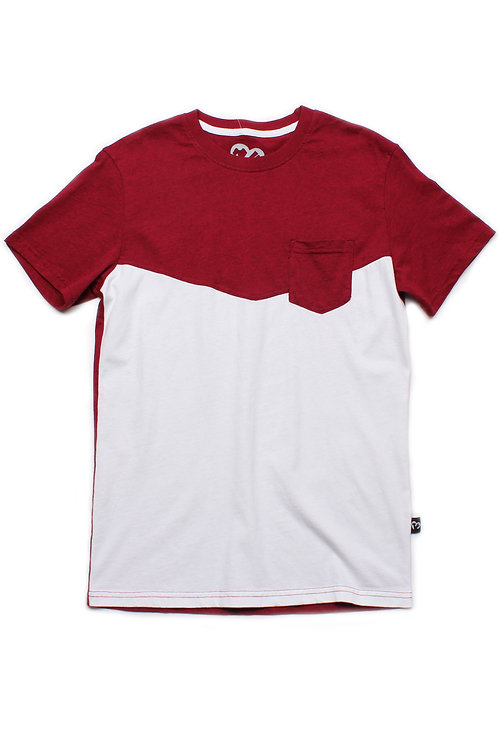 Two-Tone Chevron T-Shirt with Pocket RED (Men's T-Shirt)