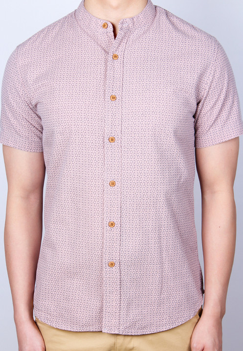 74a9abf1 Oriental Motif Print Mandarin Collar Short Sleeve Shirt PINK (Men's ...