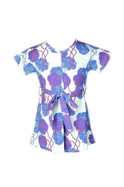 Neon Peony Print Flare Dress CYAN (Girl's Dress)