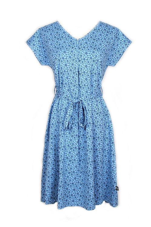 Floral Design Nursing Flare Dress BLUE (Ladies' Dress)