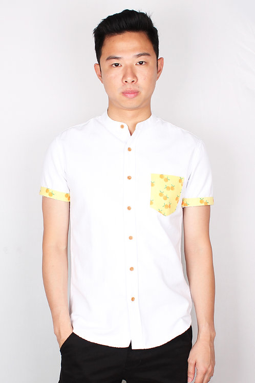 Mandarin Orange Print Mandarin Collar Short Sleeve Shirt WHITE (Men's Shirt)