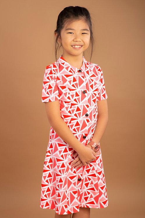 Geometric Triangles Print Button Down Dress RED (Girl's Dress)