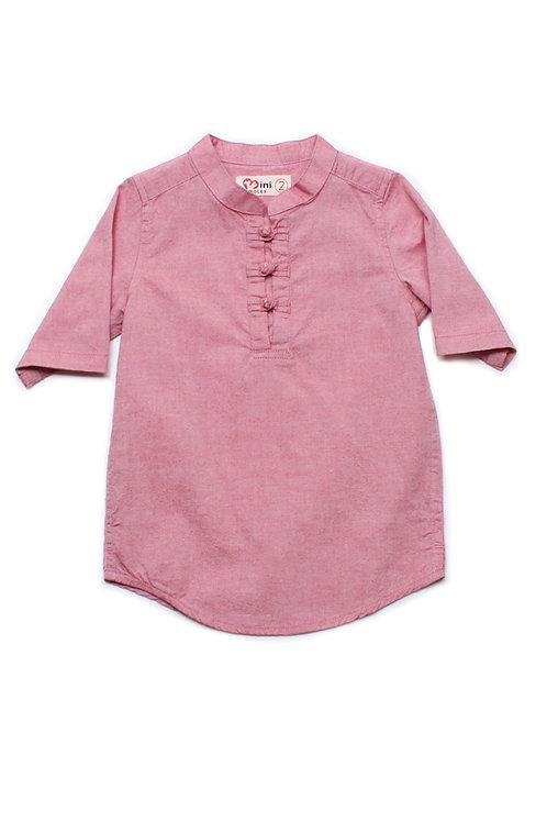 Oriental Style 3/4 Sleeve Shirt RED (Boy's Shirt)
