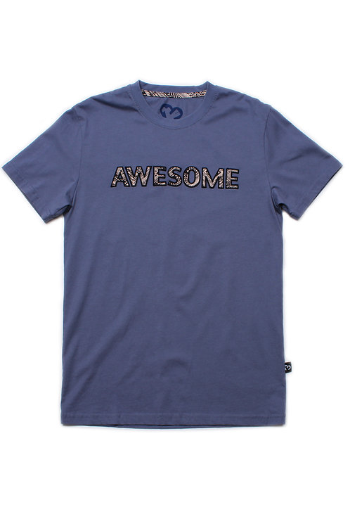 Aztec AWESOME Embroidery T-Shirt BLUE (Men's T-Shirt)