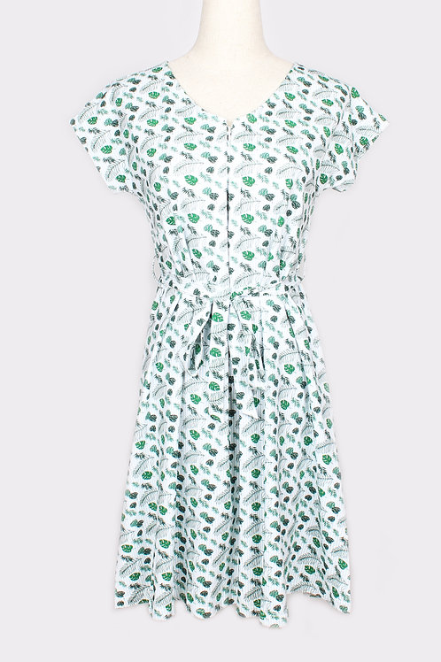 Botanical Print Nursing Flare Dress BLUE (Ladies' Dress)